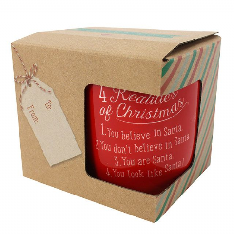 4 Realities Of Christmas Look Like Santa - Red Gift Boxed Mug